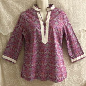 Peter Millar purple paisley long sleeve tunic sz S